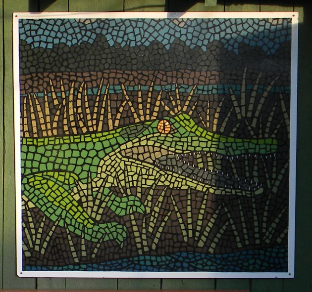 Painted alligator mosaic