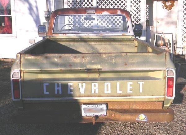 Tailgate of 1971 Chevrolet C/10 truck