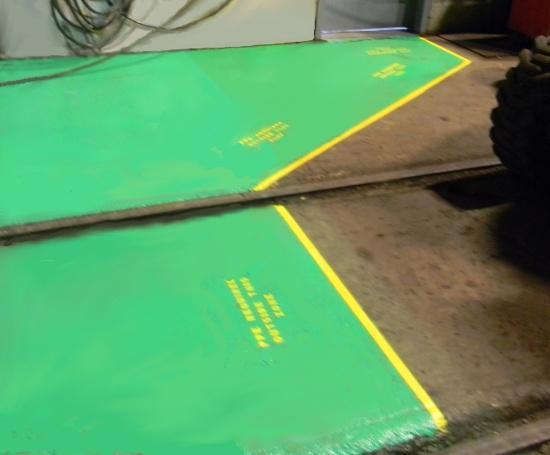 Safety walkway floor painting.