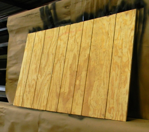 Plywood with grooves
